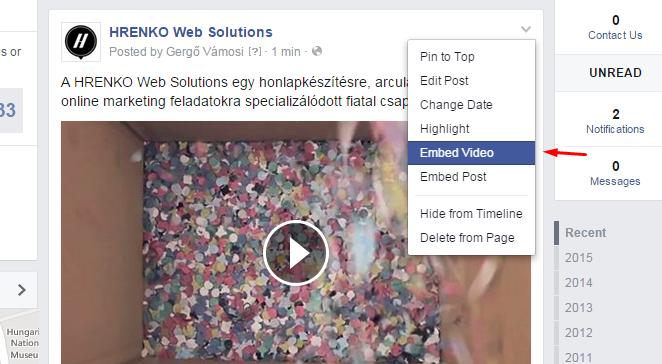 Facebook videó beágyazás