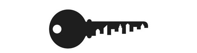 Kulcs logó - Negatív tér kihasználása