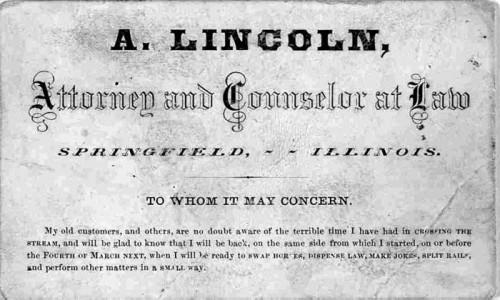 Hírességek névjegyei - Abraham Lincoln