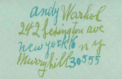 Hírességek névjegyei - Andy Warhol
