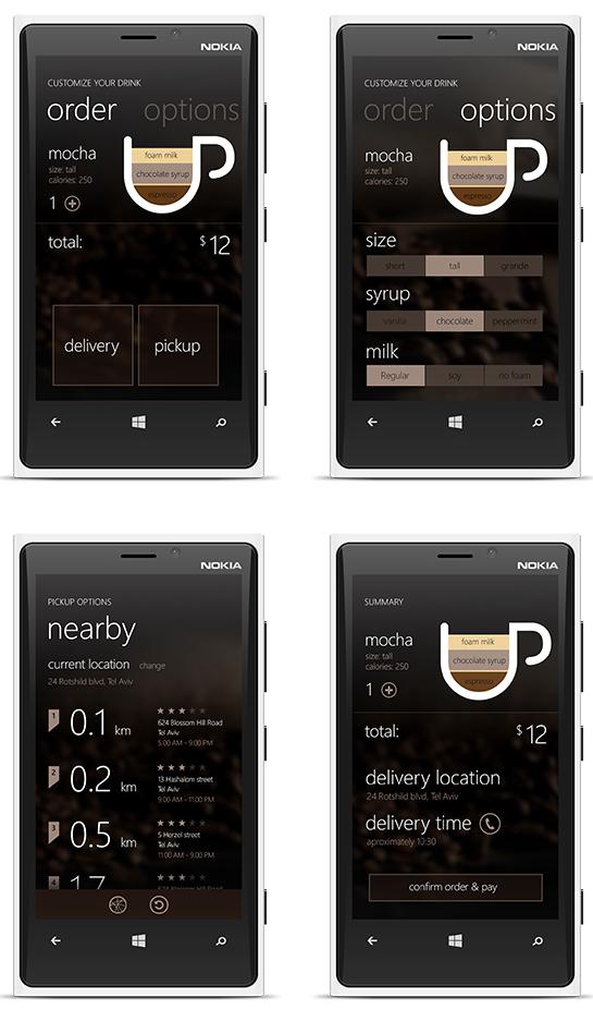 Minimál mobil felhasználói felület design - Coffee