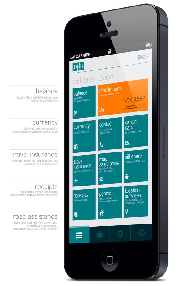 Minimál mobil felhasználói felület design - DNB 1