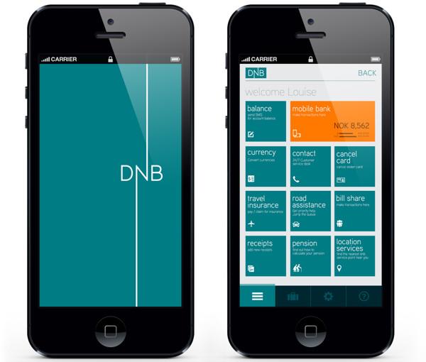 Minimál mobil felhasználói felület design - DNB 2