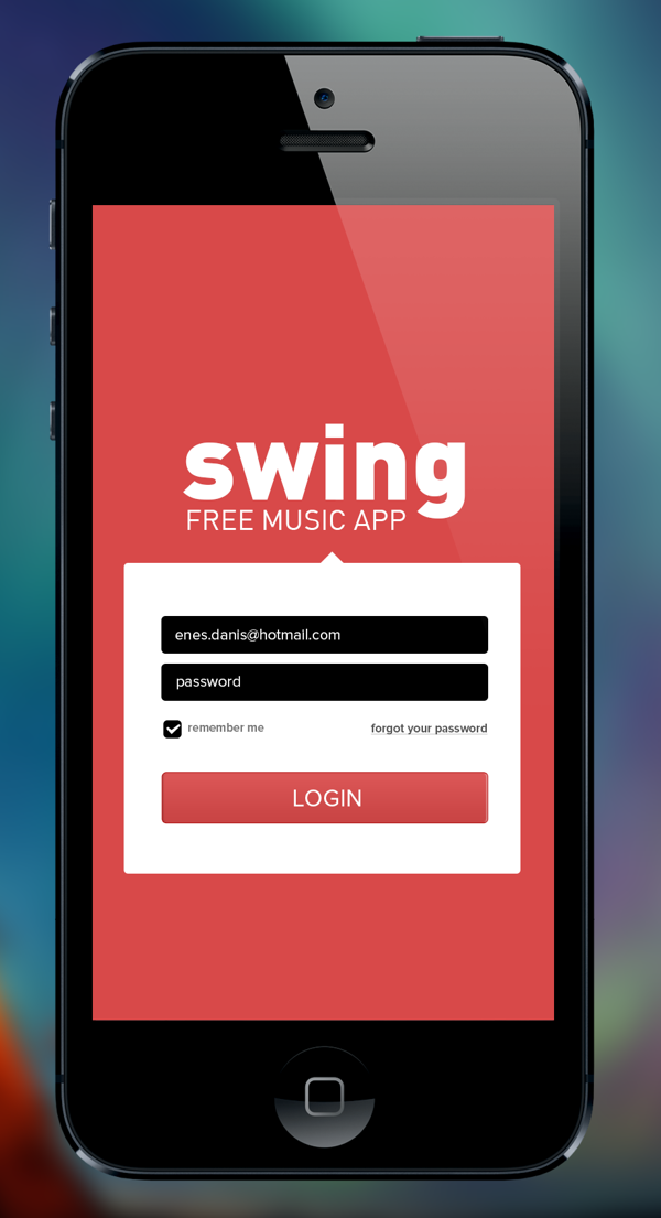 Minimál mobil felhasználói felület design - Swing