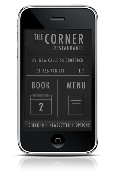 Minimál mobil felhasználói felület design - The Corner
