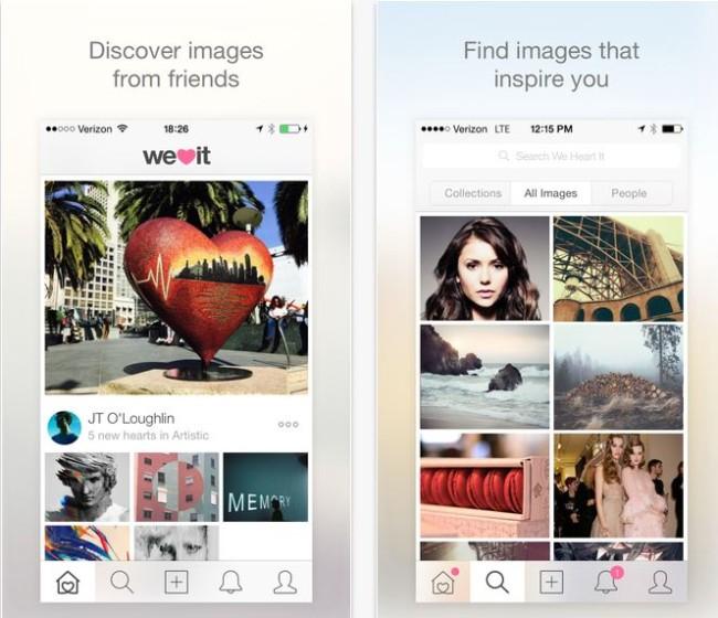 Minimál mobil felhasználói felület design - We heart It