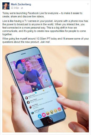 élő közvetítés Facebookon