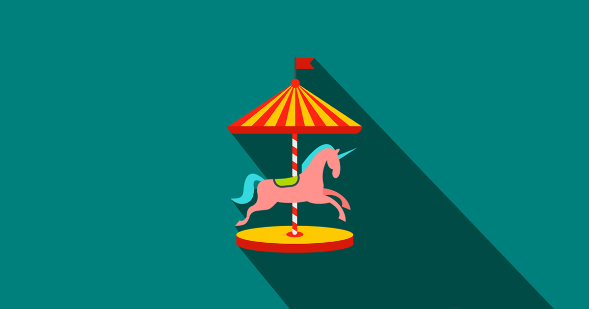 Carousel with horses flat icon on a blue background