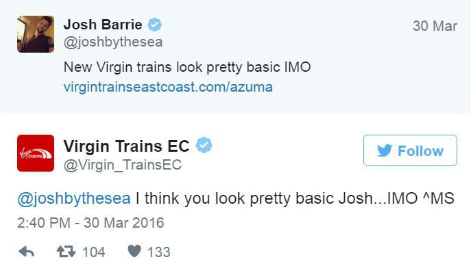 Virgin Trains - Twitter bejegyzés.