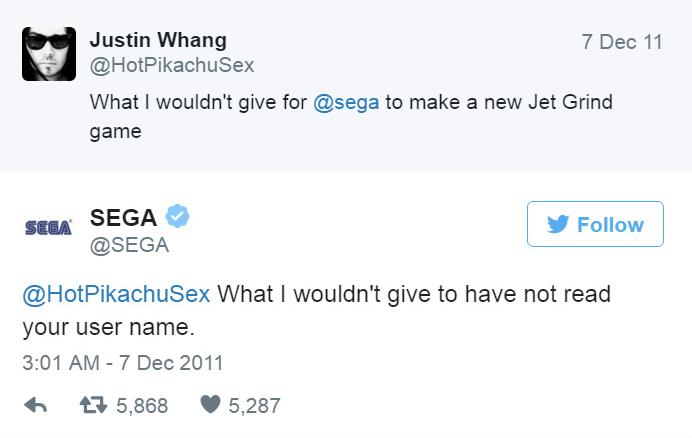 Sega - Twitter bejegyzés.
