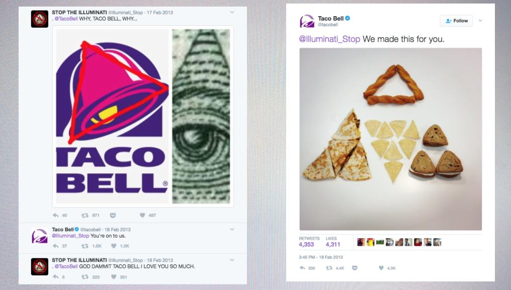 Taco Bell VS Illuminati - Twitter bejegyzés.