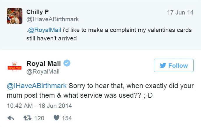 Royal Mail - Twitter bejegyzés.